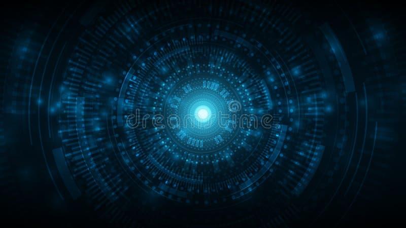 futurystyczny kosmiczny wektor technologii abstrakcyjnej tło, technologia cyberprzestrzeń tło, interfejs gry w cyberprzestrzeni ilustracja wektor