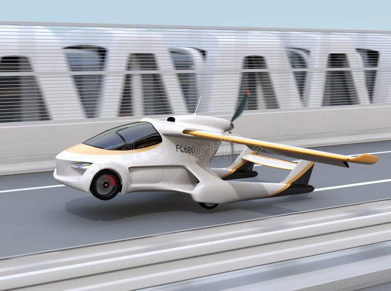 Futurystyczny latający samochód bierze daleko od autostrady royalty ilustracja