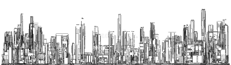 Futurystyczny Megalopolis miasto drapacze chmur Wektorowi ilustracji