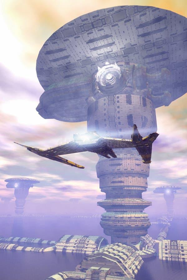 futurystyczny miasta statek kosmiczny ilustracja wektor