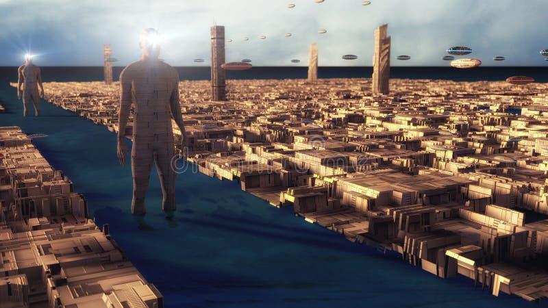 Futurystyczny miasto i obca planeta ilustracja wektor
