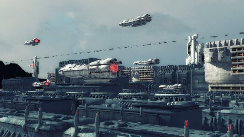 Futurystyczny miasto i statek kosmiczny ilustracji
