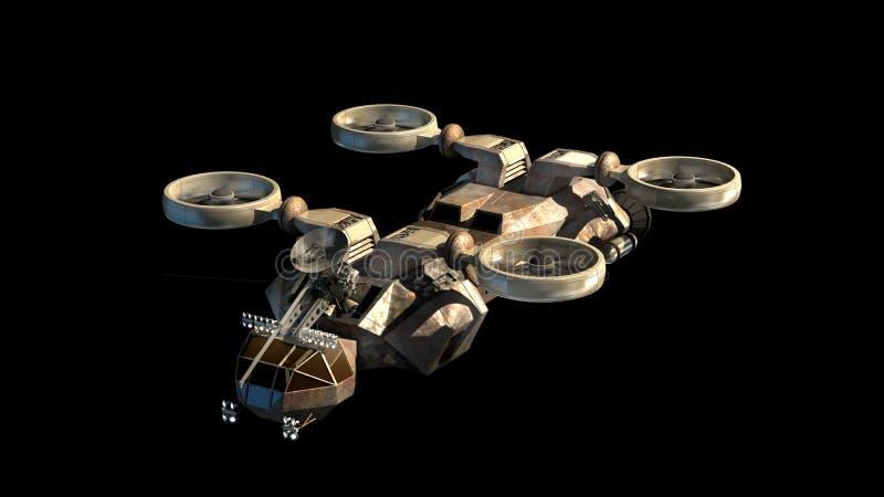 Futurystyczny militarny pancernik jak z śmigłami ilustracja wektor