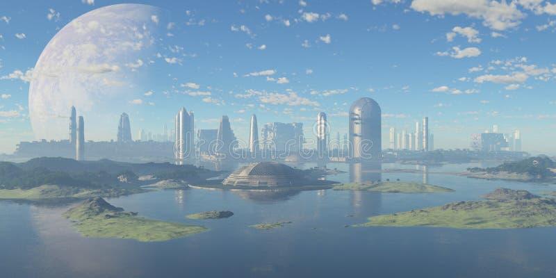 Futurystyczny nadwodny miasto zdjęcia stock