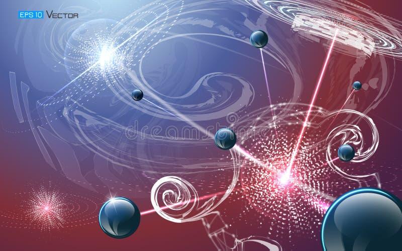 Futurystyczny nanotechnologiego tło ilustracji