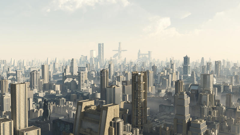 Futurystyczny pejzaż miejski ilustracji