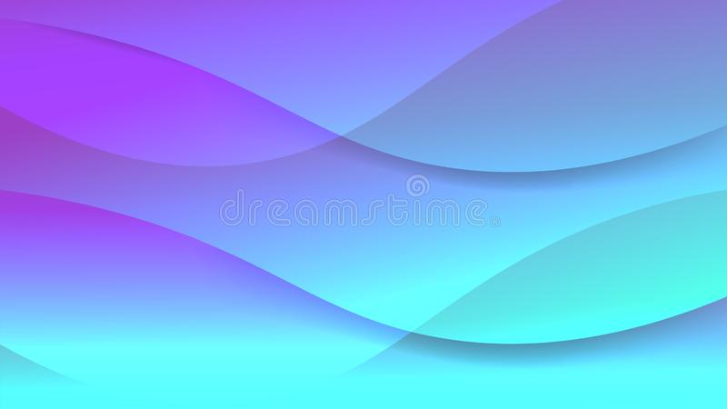 Futurystyczny piękny czysty błękitny miękki graficzny tło Nowożytny abstrakcjonistyczny świadectwo z łagodną gładką falą wykłada  ilustracji