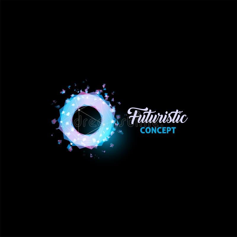 Futurystyczny pojęcie logo, żarówki abstrakcjonistyczna wektorowa ikona Odosobnione menchie i błękitni kolorów wieloboki kształtu ilustracja wektor