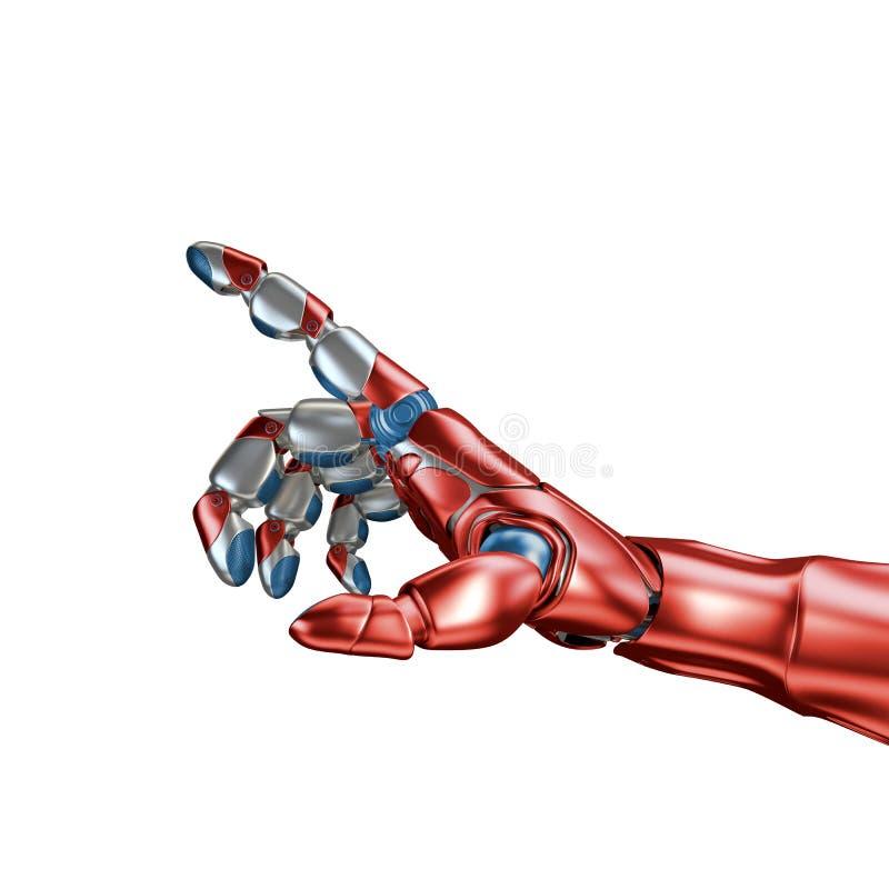 Futurystyczny pojęcie mechaniczny machinalnej ręki matte chrom Błękitny kolor Szablon odizolowywający na białym tle obraz stock