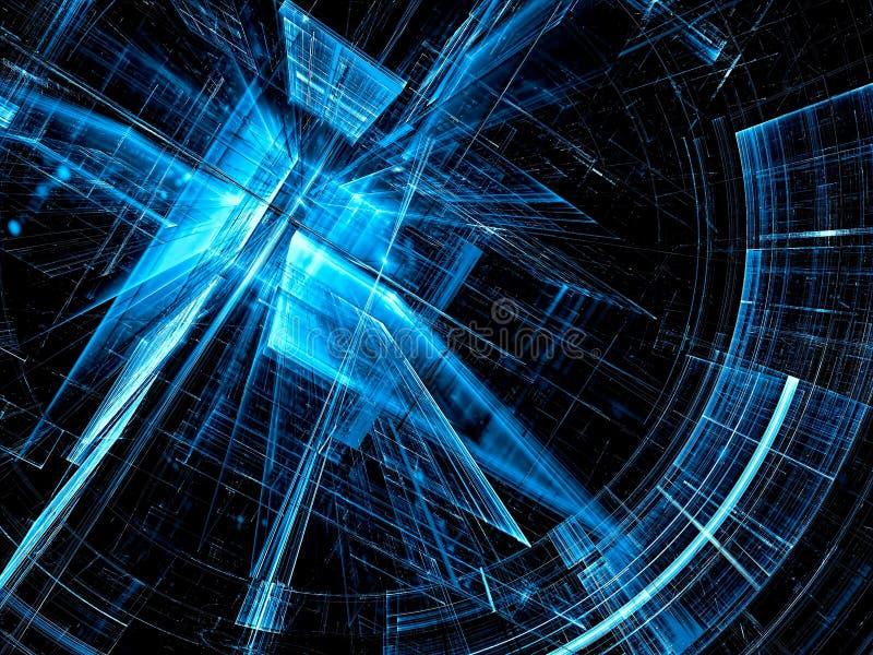 Futurystyczny portal - abstrakta cyfrowo wytwarzający wizerunek ilustracja wektor