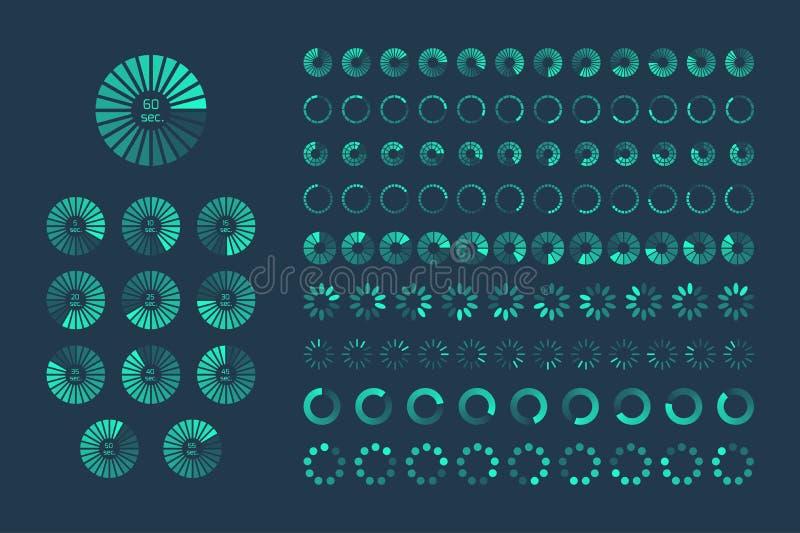 Futurystyczny postępu ładowania bar Set wskaźniki Ściąganie pro ilustracja wektor