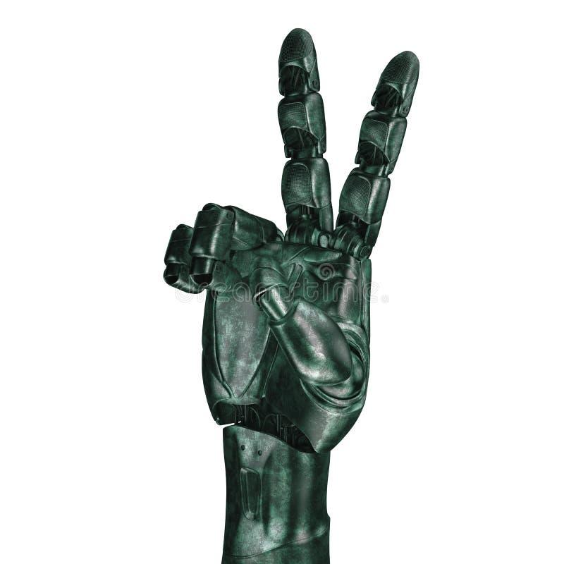 Futurystyczny projekta pojęcie mechaniczna machinalna ręka 3 d czynią matte chrom royalty ilustracja