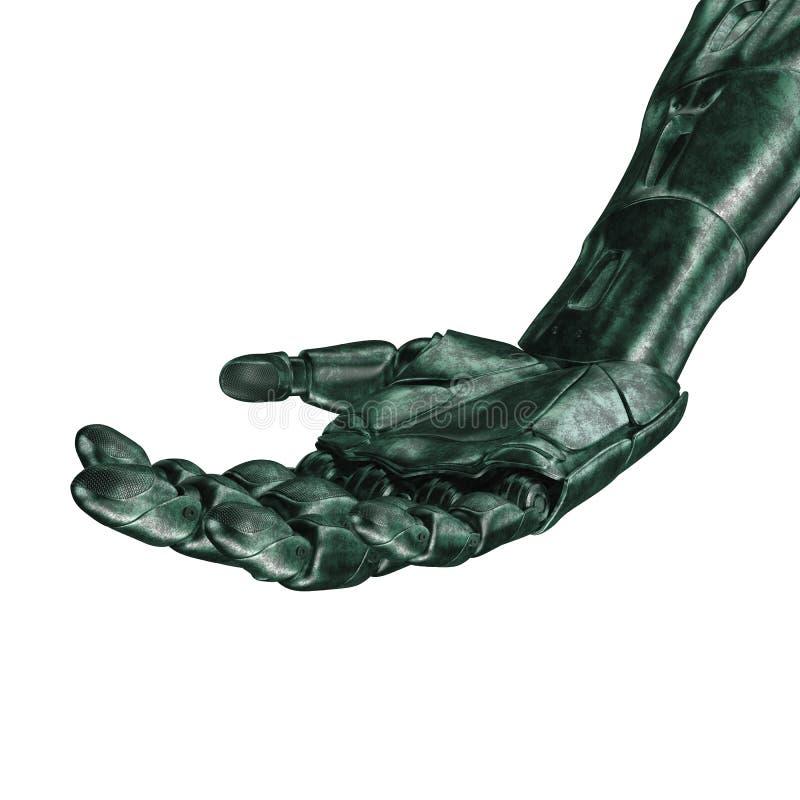Futurystyczny projekta pojęcie mechaniczna machinalna ręka 3 d czynią matte chrom ilustracji