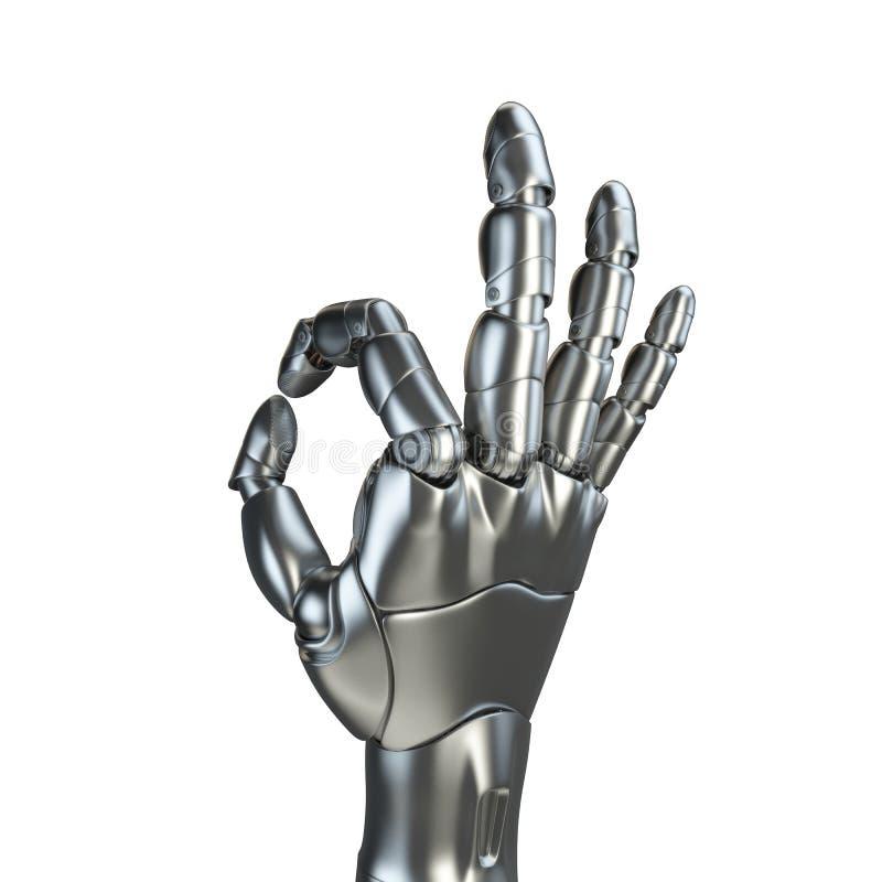 Futurystyczny projekta pojęcie mechaniczny machinalnej ręki matte chrom Szablon odizolowywający na białym tle ilustracji