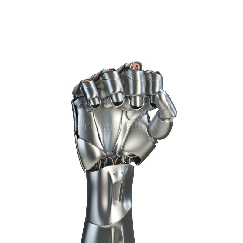 Futurystyczny projekta pojęcie mechaniczny machinalnej ręki matte chrom Szablon odizolowywający na białym tle royalty ilustracja