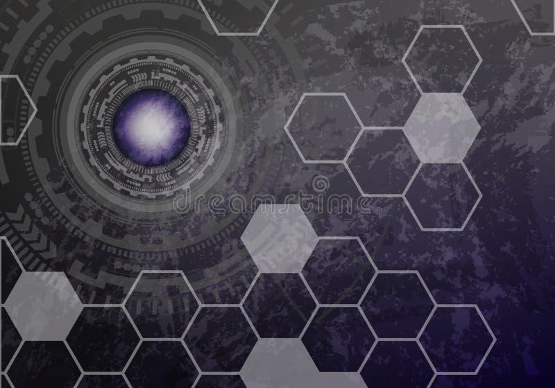 Futurystyczny przyszłościowy sci fi głowy pokaz, HUD z kruszcowym bac ilustracji