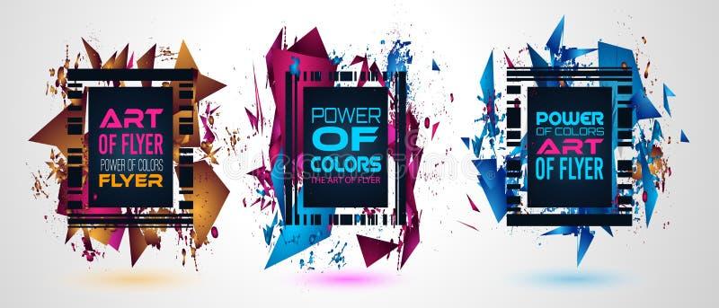 Futurystyczny Ramowy sztuka projekt z abstraktem kształtuje i opuszcza kolory ilustracja wektor