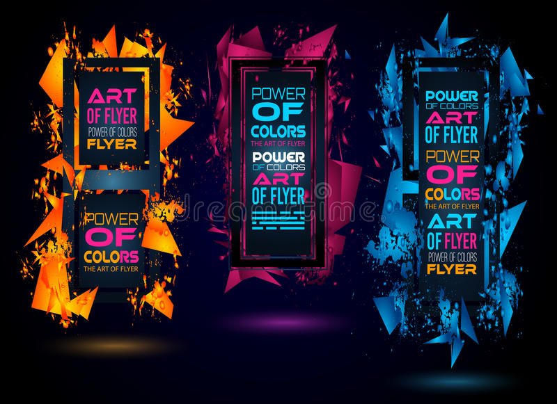Futurystyczny Ramowy sztuka projekt z abstraktem kształtuje i opuszcza kolory ilustracji