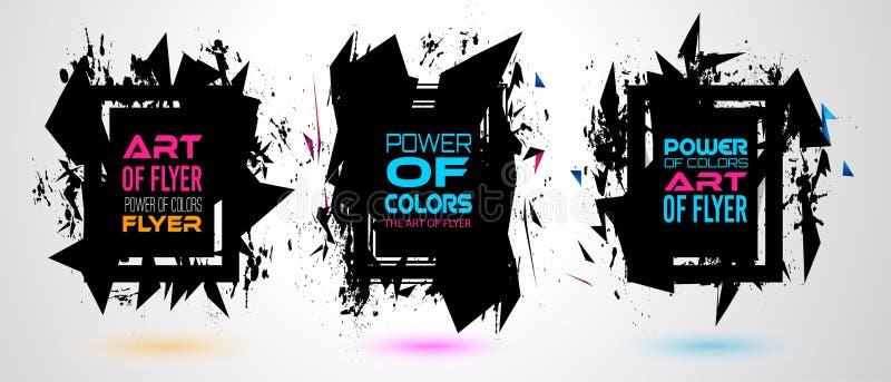 Futurystyczny Ramowy sztuka projekt z abstraktem kształtuje i opuszcza kolory za przestrzenią ilustracja wektor
