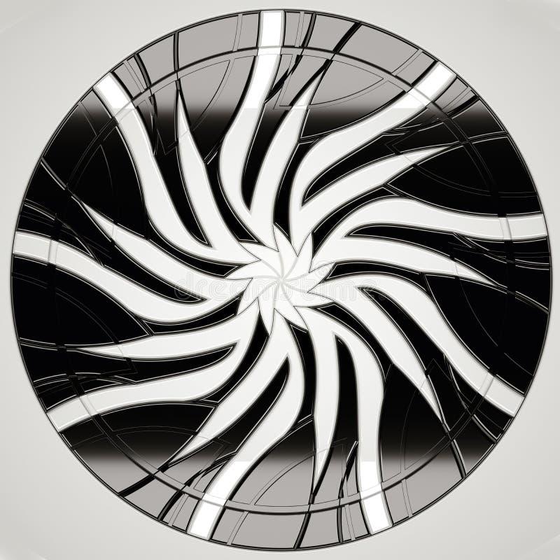 Futurystyczny round drzwi lub brama z liśćmi royalty ilustracja