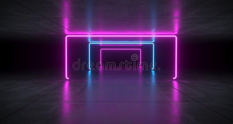 Futurystyczny Sci Fi Błękitna I Purpurowa Neonowa tubka Zaświeca Jarzyć się W Co royalty ilustracja