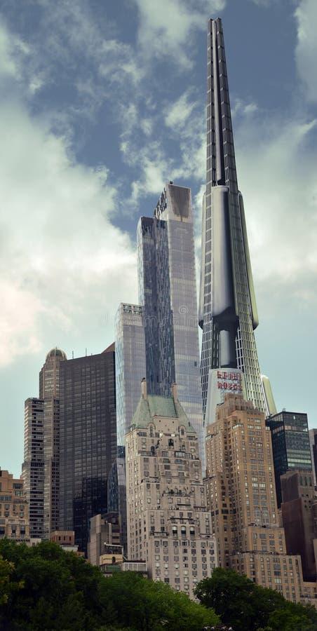 Futurystyczny scyscraper w Manhattan ilustracja wektor