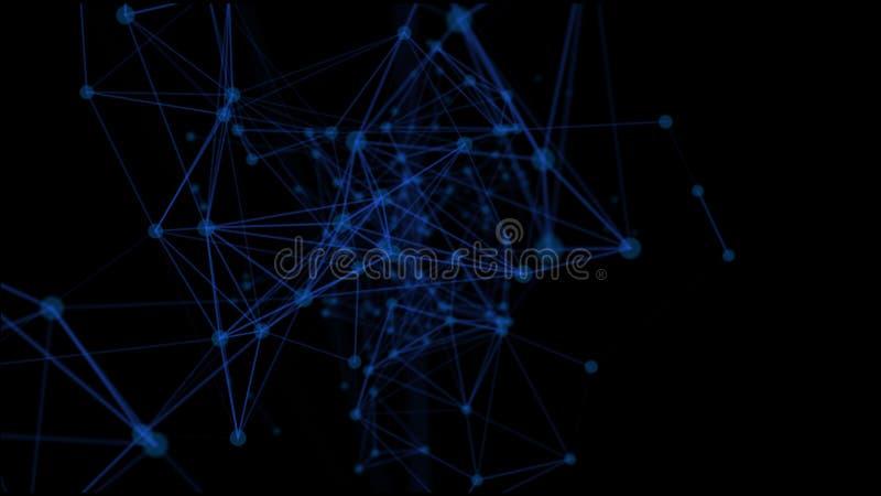 Futurystyczny sieci tło - abstrakt linie na czerni i kropki Nieregularna struktura związani punkty Nauka temat - ilustracji