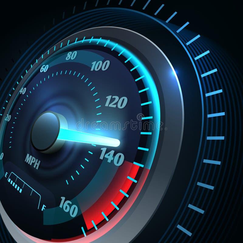 Futurystyczny sporta samochodu szybkościomierz Abstrakcjonistycznej prędkości bieżny wektorowy tło ilustracja wektor