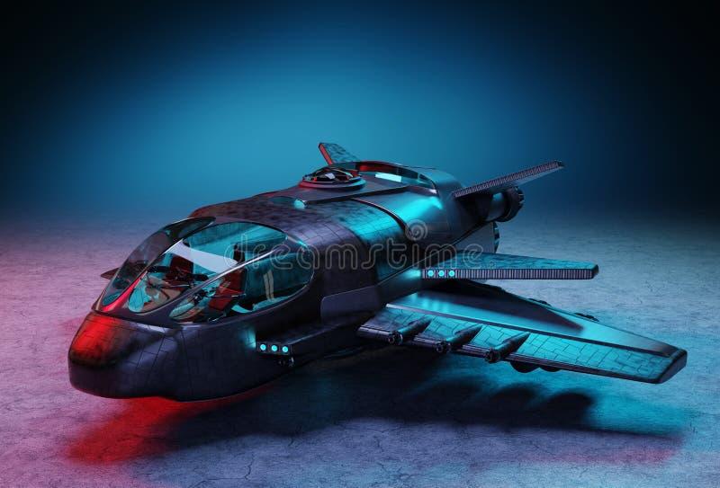 Futurystyczny statek kosmiczny odizolowywający na ciemnym tła 3D renderingu royalty ilustracja