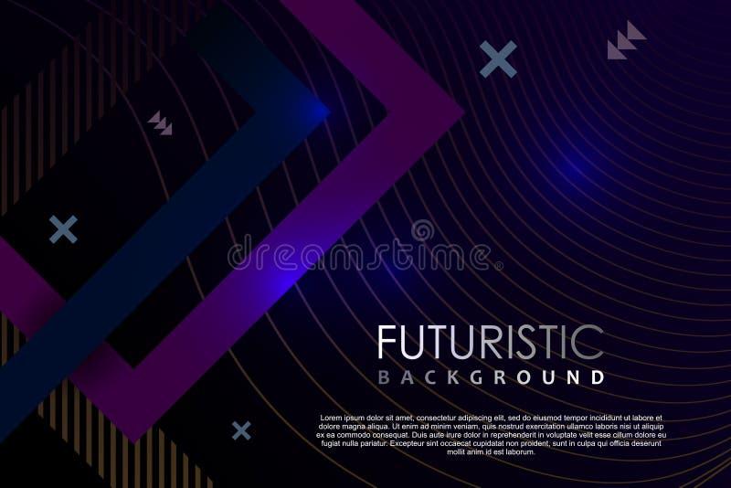 Futurystyczny sztandaru tła szablonu abstrakt z gradientowym neonowym skutkiem ilustracji