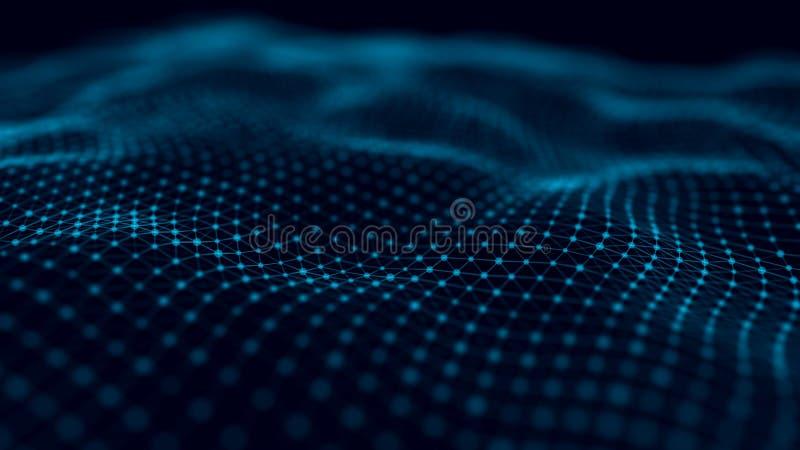 Futurystyczny tło punkty i linie z dynamiczną falą Du?y Dane Abstrakcjonistyczny t?a 3D rendering 4K ilustracji