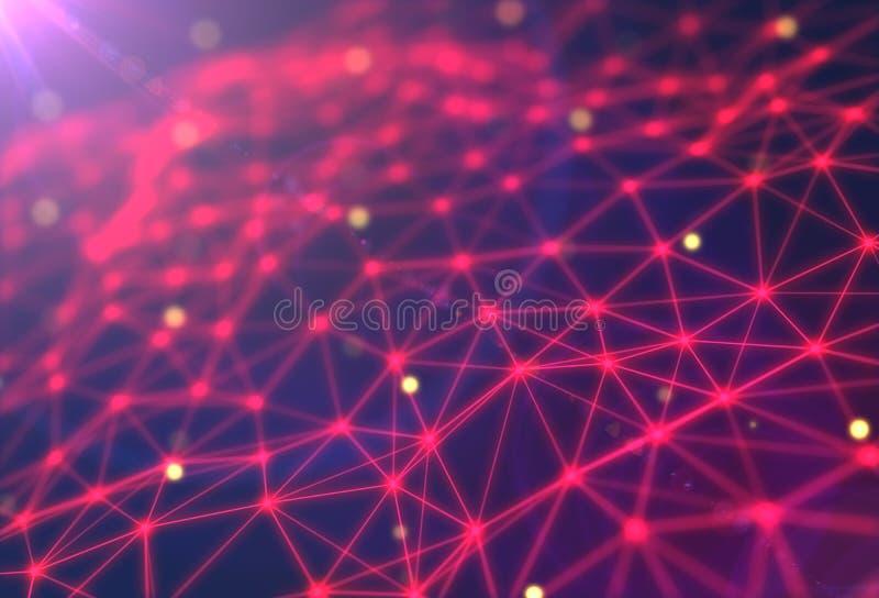 Futurystyczny technologii tło Plexus trójboka futurystyczna fantazja świadczenia 3 d ilustracji