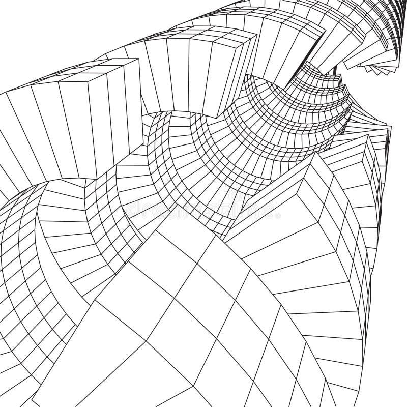 Futurystyczny tunel wireframe siatki niska poli- budowa ilustracji