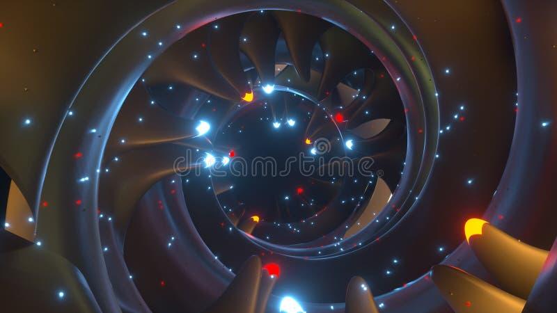 Futurystyczny tunel z mruganiem zaświeca 3D renderingu ilustrację ilustracji
