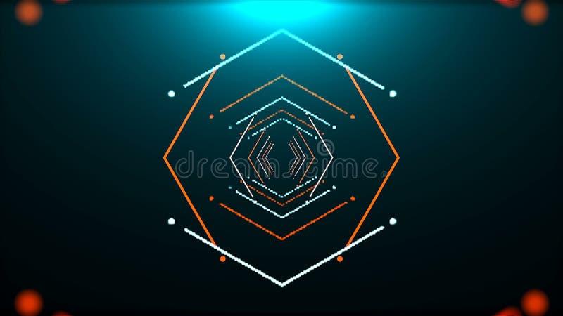 Futurystyczny tunel z neonowym światłem w przestrzeni, abstrakcjonistyczny komputer wytwarzał tło, 3D rendering ilustracji