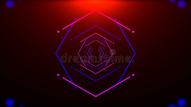 Futurystyczny tunel z neonowym światłem w przestrzeni, abstrakcjonistyczny komputer wytwarzał tło, 3D rendering royalty ilustracja