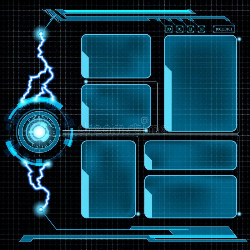 Futurystyczny użytkownika menu interfejs HUD ilustracja wektor