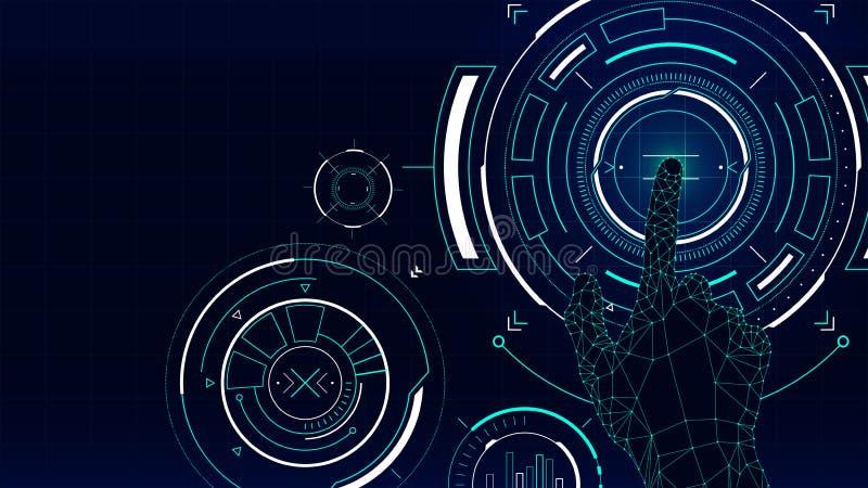 Futurystyczny wektorowy tło, hud technologii dotyka ekranu interfejs ilustracja wektor