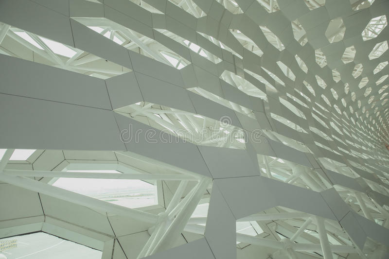 Futurystyczny wewnętrzny struktury ściany element nowożytna bionic architektura Beton i metal zdjęcie royalty free