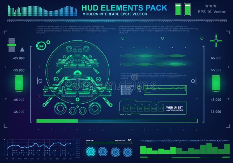 Futurystyczny wirtualny graficzny dotyka interfejs użytkownika, cel ilustracja wektor