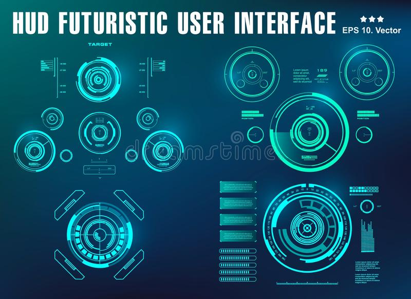Futurystyczny wirtualny graficzny dotyka interfejs u?ytkownika, cel ilustracja wektor