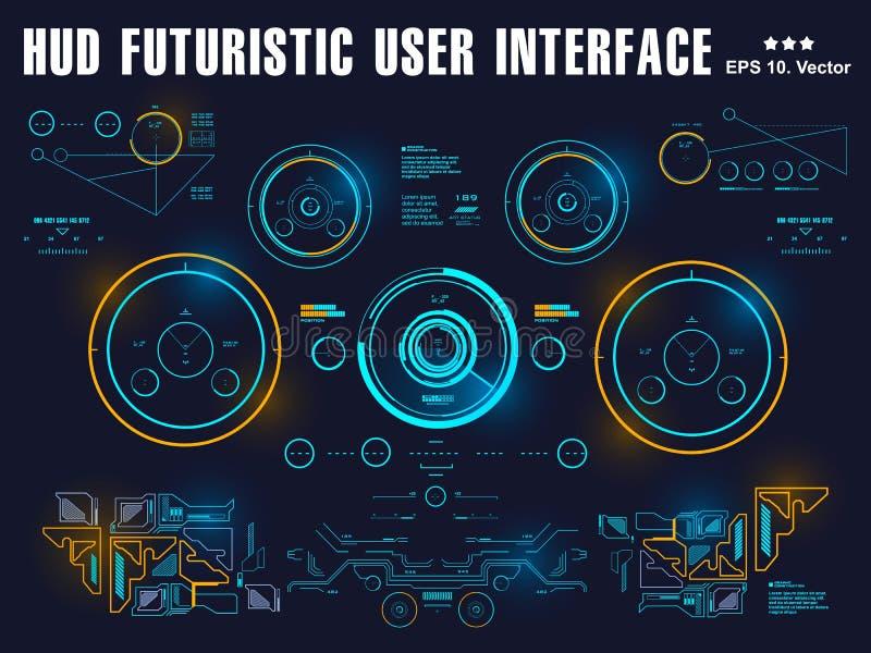 Futurystyczny wirtualny graficzny dotyka interfejs u?ytkownika, cel royalty ilustracja