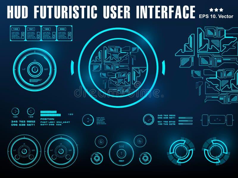 Futurystyczny wirtualny graficzny dotyka interfejs u?ytkownika, cel ilustracji