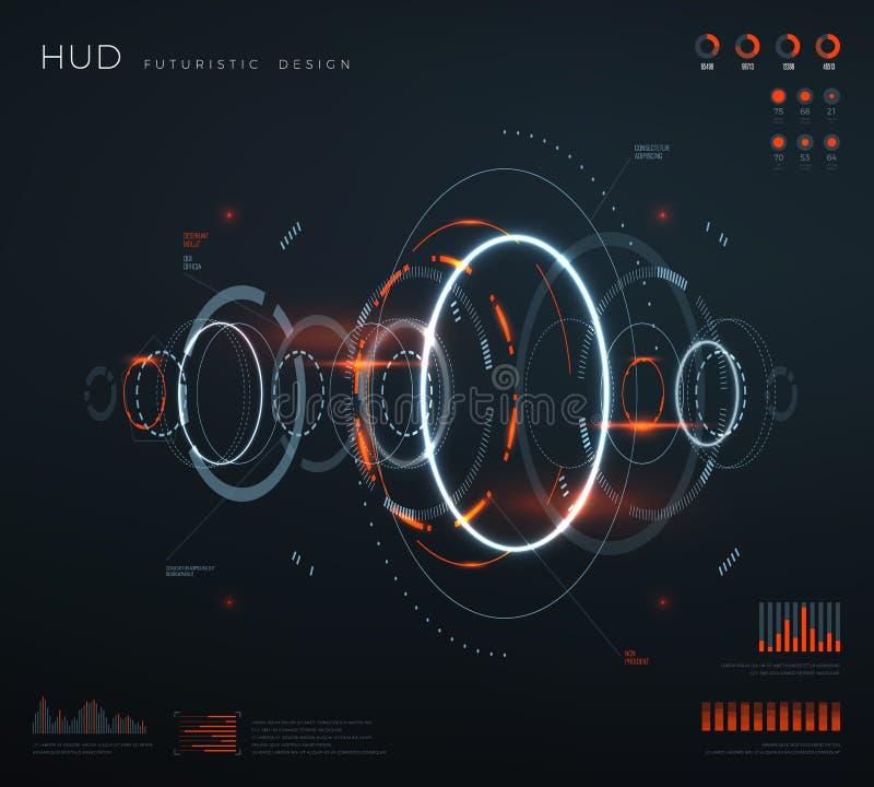 Futurystyczny wirtualny hud interfejs Technologia cyfrowy ekran z pulpitami operatora, mapa, diagramy Konceptualna przyszłość royalty ilustracja