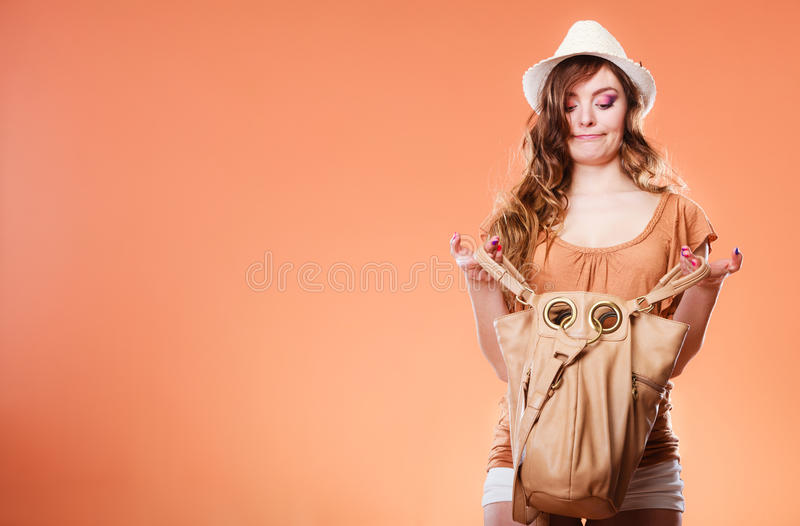 Fuuny woman in summer hat with handbag stock images