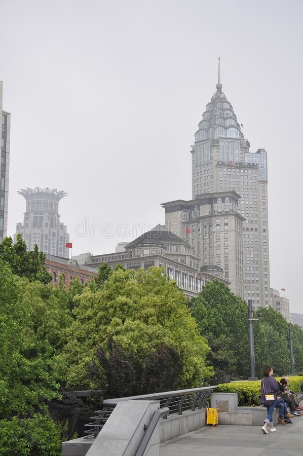 Shanghai, 2nd May: Sightseeing tour in Shanghai on a smoggy morning stock image