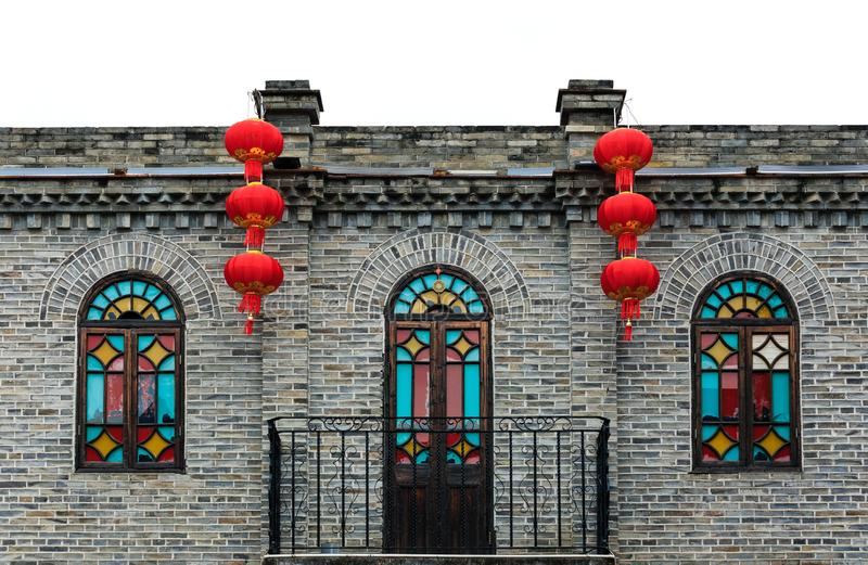 Fuzhou,Fujian province,China-06 MAR 2019:Chinese Red Lantern decorated on old house royalty free stock photography