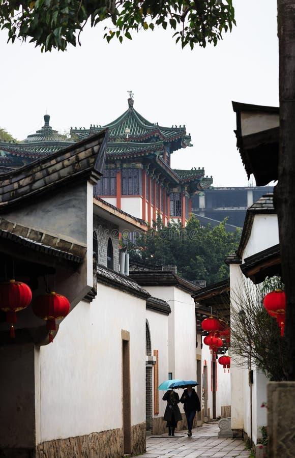Fuzhou,Fujian province,China-07 MAR 2019: the famous historic and cultural area Sanfang Qixiang in Fuzhou royalty free stock images