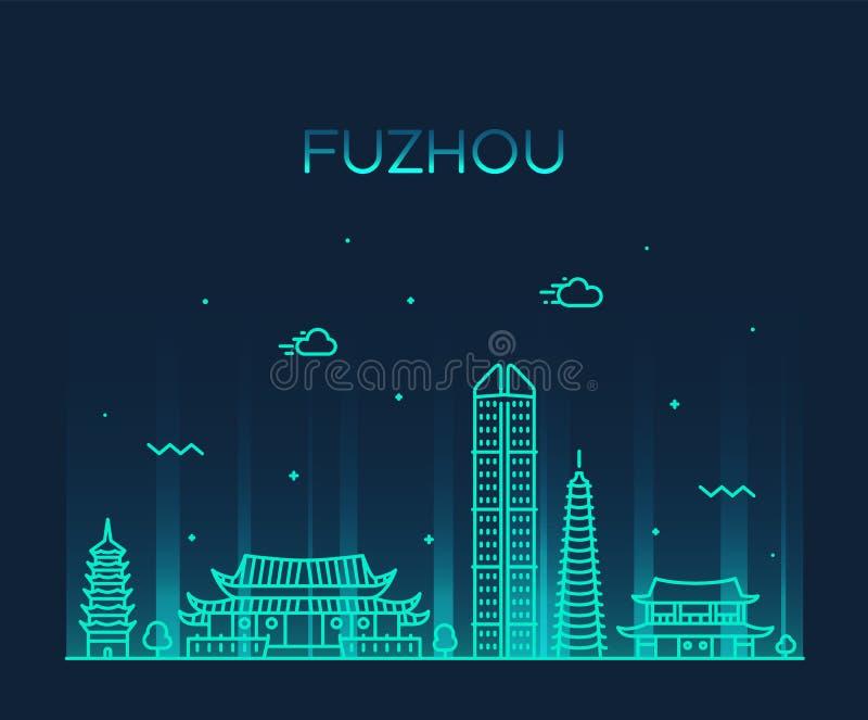 Fuzhou linia horyzontu Fujian gubernialny Porcelanowy wektorowy liniowy ilustracja wektor