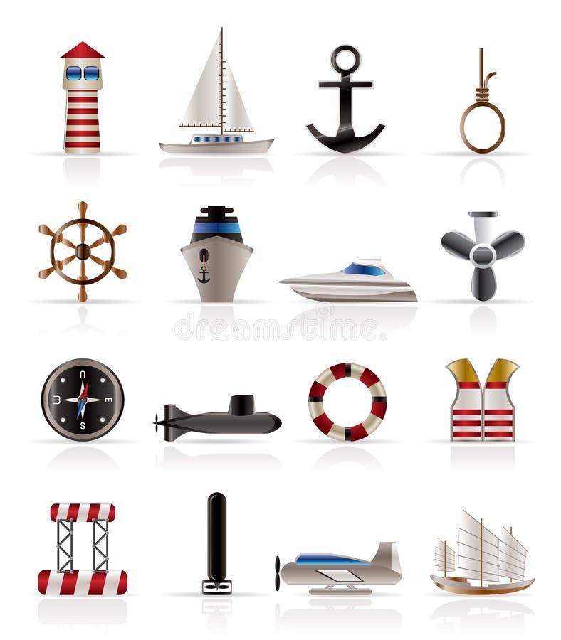 Fuzileiro naval, navigação e ícones do mar ilustração do vetor